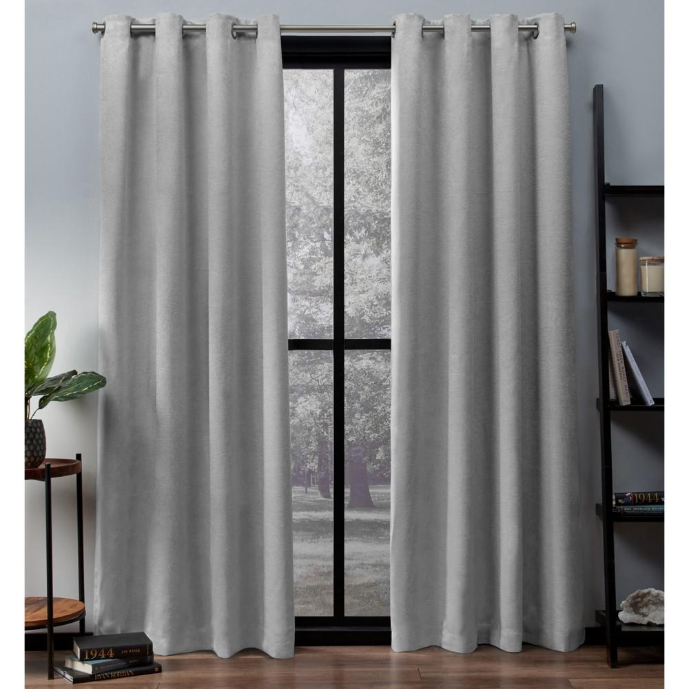 Oxford Textured Sateen Thermal Room Darkening Grommet Top Window Curtain Panel Pair Silver 52x96 - Exclusive Home