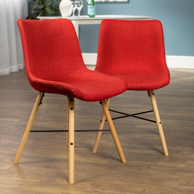 Set of 2 Upholstered Linen Side Chair Red - Saracina Home