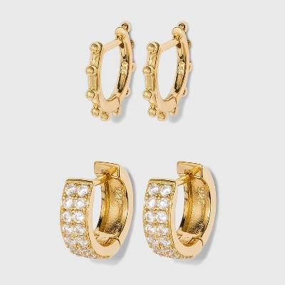 SUGARFIX by BaubleBar 14K Gold Plated Delicate Deco Huggie Hoop Earring Set - Gold