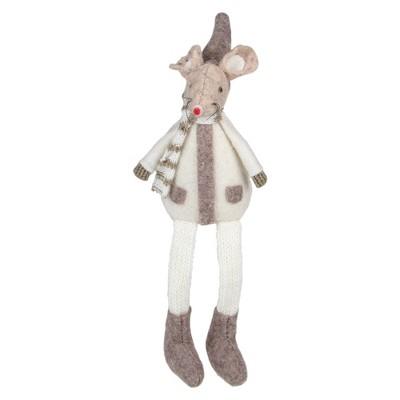 "Northlight 9.5"" Sitting Plush Christmas Mouse Figure"