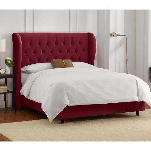 California King Tufted Upholstered Wingback Bed Velvet Berry