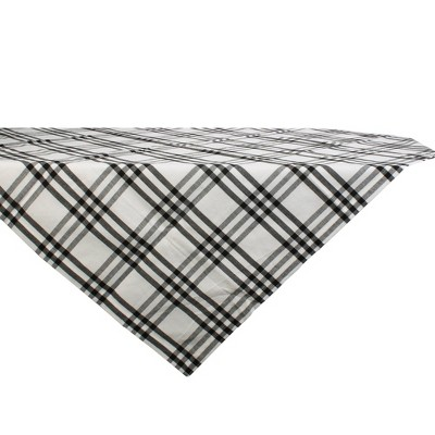 "40"" Cotton Homestead Plaid Table Topper Black - Design Imports"