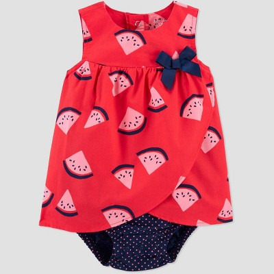 Baby Girls' Watermelon Romper - Just One You® made by carter's Pink/Blue Newborn