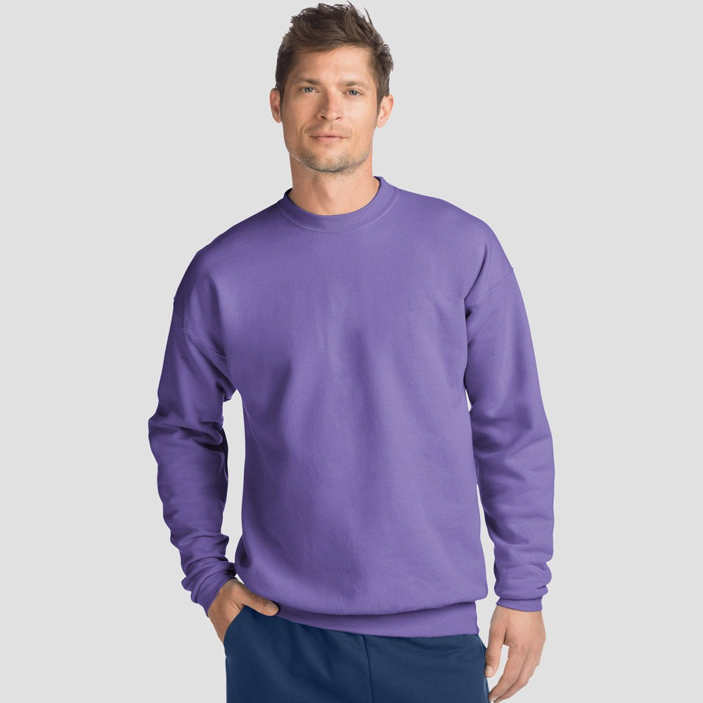 Hanes Men's Big & Tall EcoSmart Fleece Crew Neck Sweatshirt - Purple 3XL