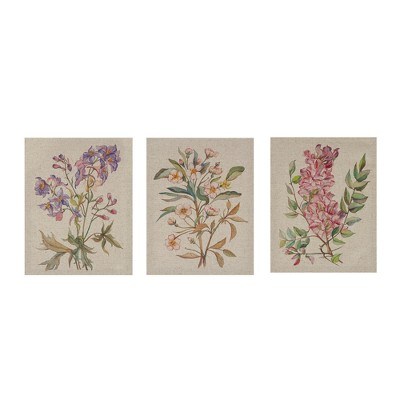"(Set of 3)14"" x 11"" Linen Botanicals Printed Canvas Decorative Wall Art Set"