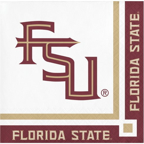 20ct Florida State Seminoles University Cocktail Beverage Napkins - NCAA - image 1 of 3