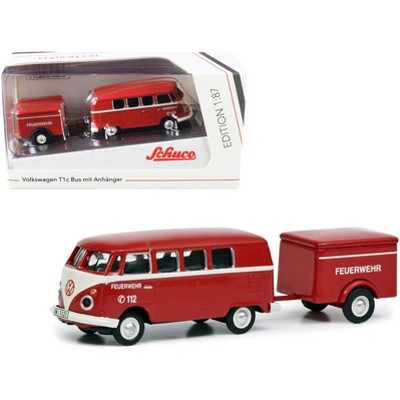 """Volkswagen T1c Bus with Trailer Red and Cream """"Feuerwehr"""" (Fire Department) 1/87 (HO) Diecast Models by Schuco"""