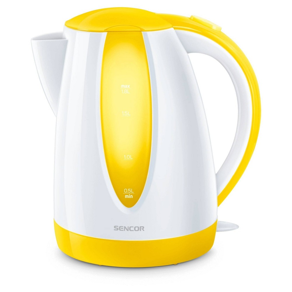 Sencor 1.8L Electric Kettle - Yellow Cordless electric kettles by Sencor heats water twice as fast as stove top, offering better speed, convenience, energy efficiency and safety! This electric kettle comes with a 360 degree swivel and bright finish. Color-coordinate with other kitchen electrics by Sencor to create a beautiful kitchen with European design touch! Color: Yellow. Gender: unisex.