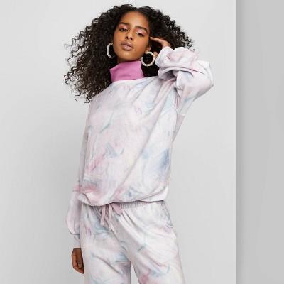 Women's Tie-Dye Crewneck Marbled Sweatshirt - Wild Fable™ White/Pink