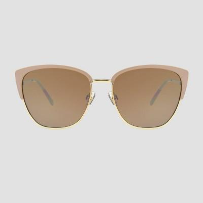 Women's Retro Browline Sunglasses - A New Day™ Beige