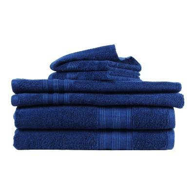6pk Solid Bath Towel Navy - Freshee