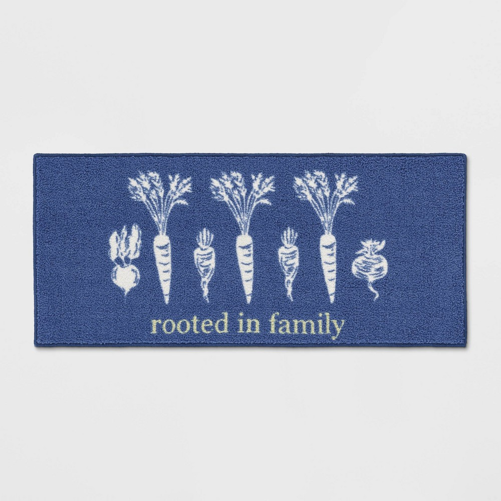 Rooted in Kitchen Rug Blue
