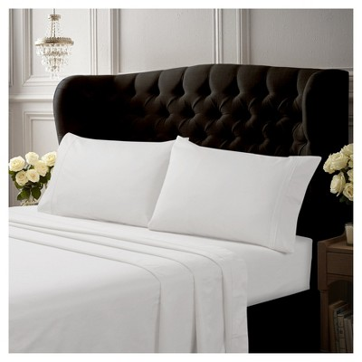 Egyptian Cotton Sateen Deep Pocket Solid Sheet Set (Queen)4pc White 500 Thread Count - Tribeca Living®