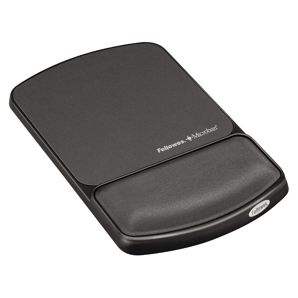 Fellowes Wrist Support w/ Attached Mouse Pad, Microban Protection - Graphite Gray, Grey/Black