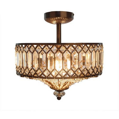 "15.25"" Glass and Metal Tiered Jeweled Semi Flush Mount Ceiling Light - River of Goods"