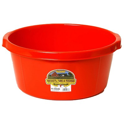 Little Giant P65RED 6.5 Gallon DuraFlex Plastic All Purpose Utility Tub with Hand Grips for Farm, Ranch, Garden, Home, or Shop, Red