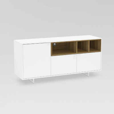 """Carson TV Stand for TVs up to 60"""" White/Walnut - Chique"""