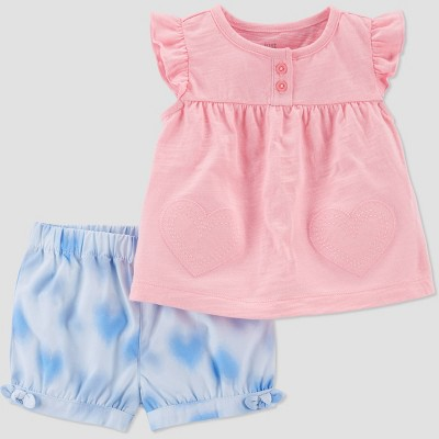 Baby Girls' Hearts Top & Bottom Set - Just One You® made by carter's Pink Newborn