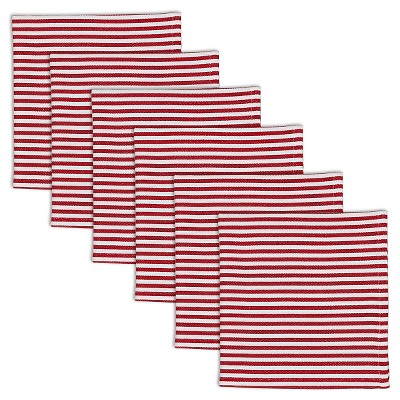 Multi-Colored Peppermint Stripe Napkins (Set Of 6)- Design Imports