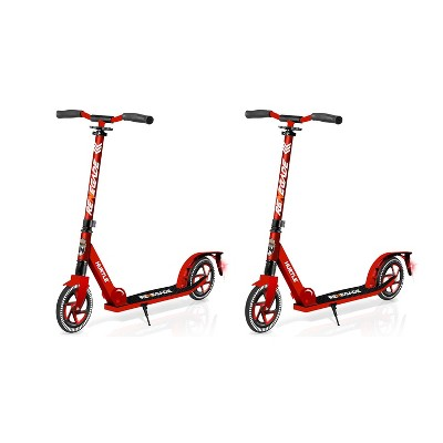 Hurtle Renegade HURTSRD.5 Lightweight Foldable Teen and Adult Adjustable Ride On 2 Wheel Transportation Commuter Kick Scooter, Red (2 Pack)