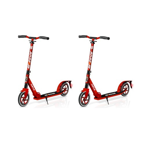 Hurtle Renegade HURTSRD.5 Lightweight Foldable Teen and Adult Adjustable Ride On 2 Wheel Transportation Commuter Kick Scooter, Red (2 Pack) - image 1 of 4