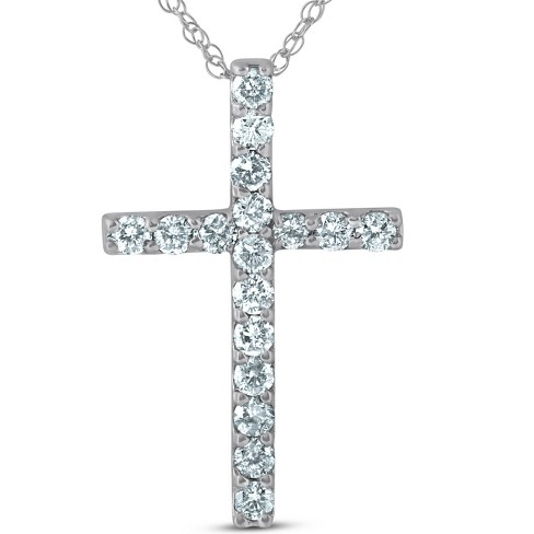 """Pompeii3 1 Ct Diamond Cross 14k White Gold 18"""" Chain Womens Necklace 1 1/4"""" Tall - image 1 of 4"""