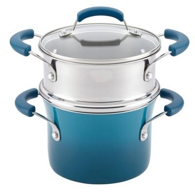 Rachael Ray 3qt Hard Enamel Aluminum Nonstick Sauce Pot with Steamer Insert Marine Blue