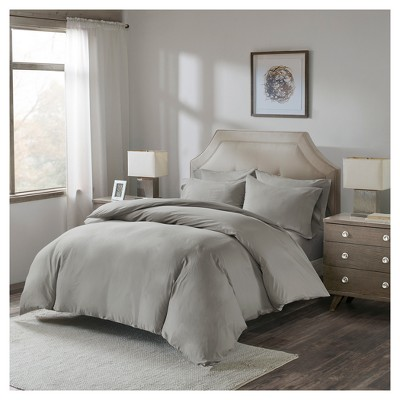 Gray Luxury Cotton Percale Duvet Cover Set with Fitted Sheet (Queen)