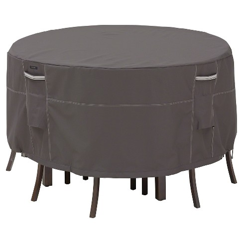 Ravenna Small Round Patio Table And 4 Standard Chairs Cover Dark