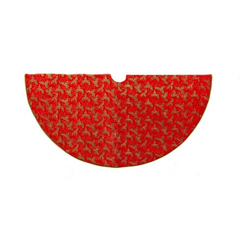 "52"" Red with Holly Decorative Tree Skirt - image 1 of 1"