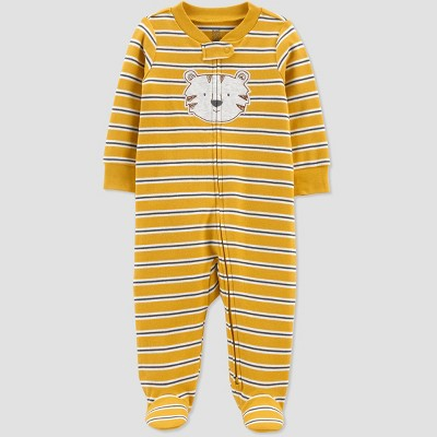 Baby Boys' Tiger Interlock Footed Pajama - Just One You® made by carter's Gold 3M