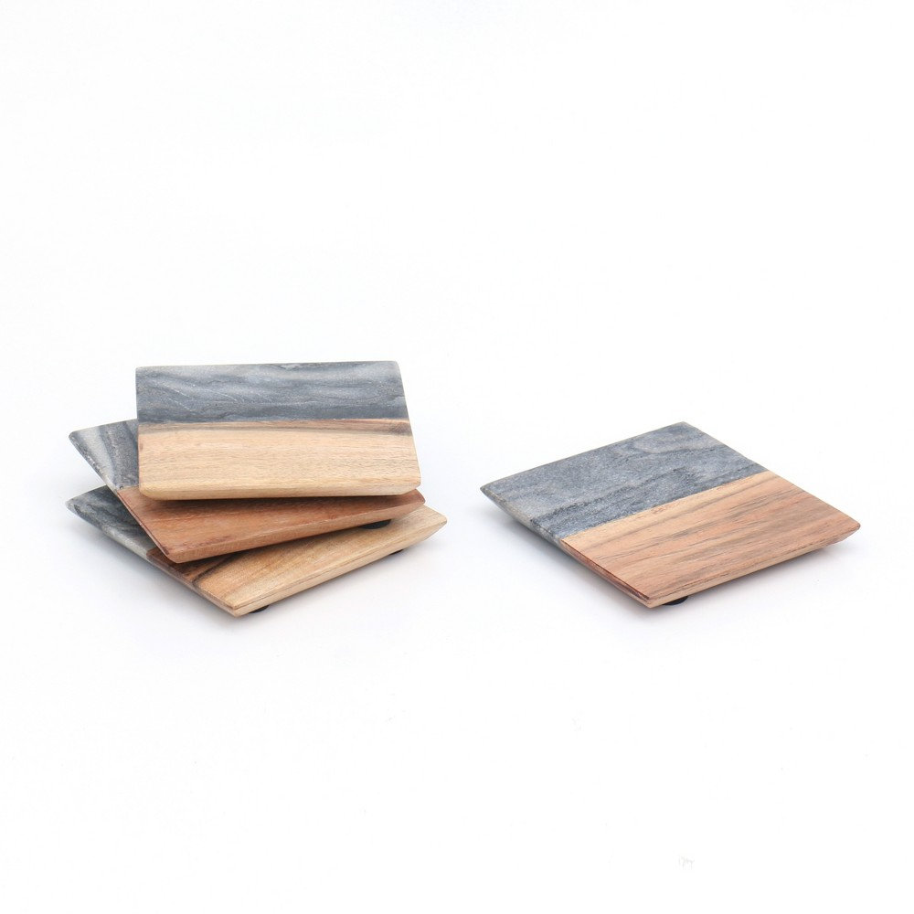 Image of Marble and Wood Coasters - 4pk - Threshold