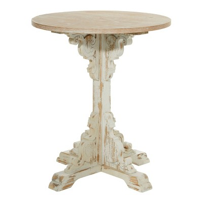 Small Round Antique Wood Accent Table White - Olivia & May
