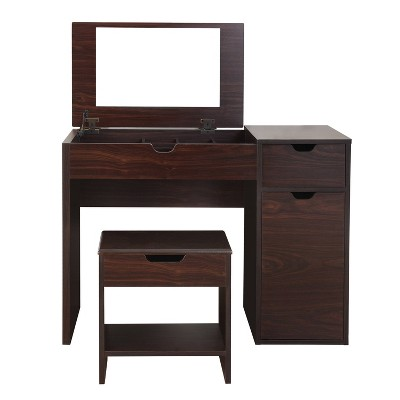 Lena 3 Drawer Vanity Set Dark Walnut - HOMES: Inside + Out