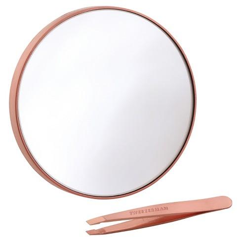 Tweezerman Rose Gold 10x Mirror and Mini Slant Duo - image 1 of 3