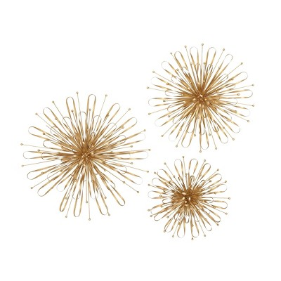 Set of 3 Modern Iron Spiked Puff Wall Decor - Olivia & May