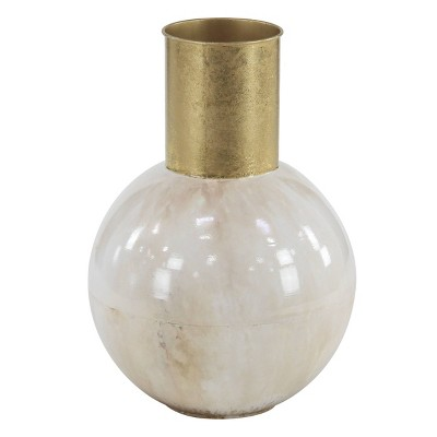 Round Modern Style Metal Vase Gold/White - CosmoLiving by Cosmopolitan