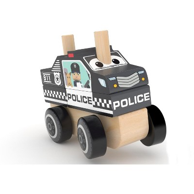 J'adore Police Car Wooden Stacking Toy