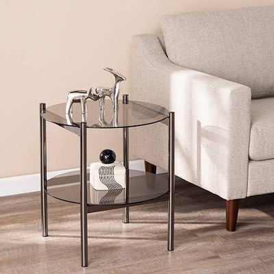Glendale Round End Table with Glass Top Black - Aiden Lane