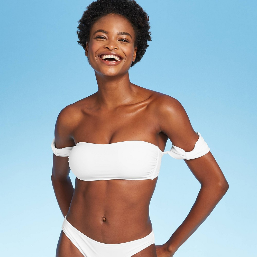 Image of Women's Bow Side Bikini Top - Xhilaration White D/DD Cup, Women's