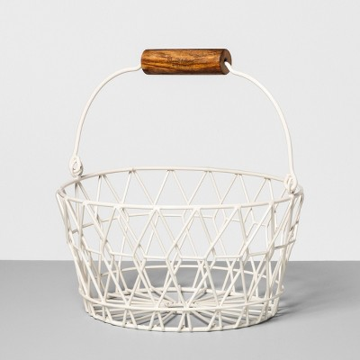 9.6  x 9.2  Wire Basket with Wood Handle Cream - Hearth & Hand™ with Magnolia