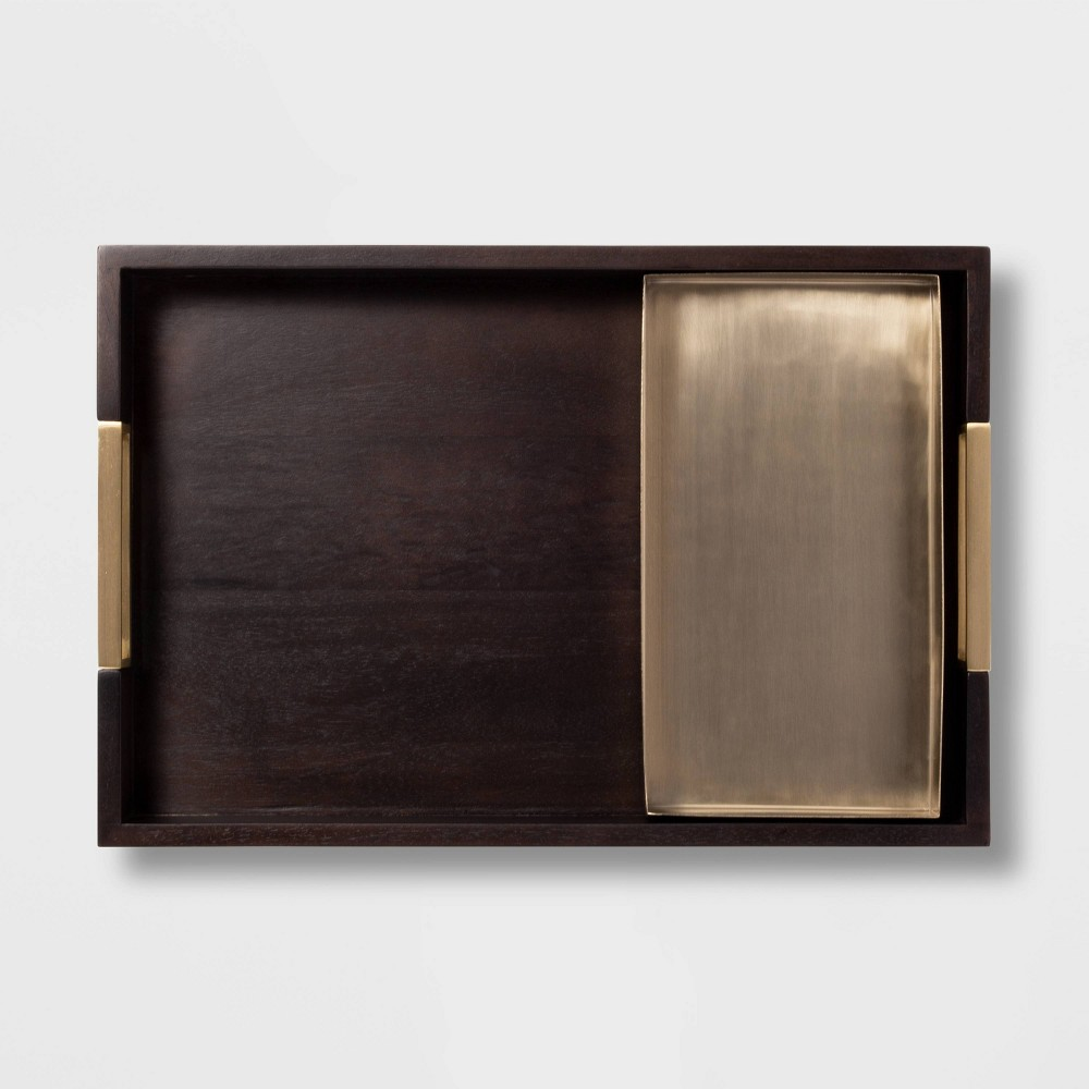 Image of 2pc Rectangle Wood and Metal Tray Set Black/Brass - Project 62