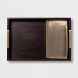 2pc Rectangle Wood and Metal Tray Set Black/Brass - Project 62™