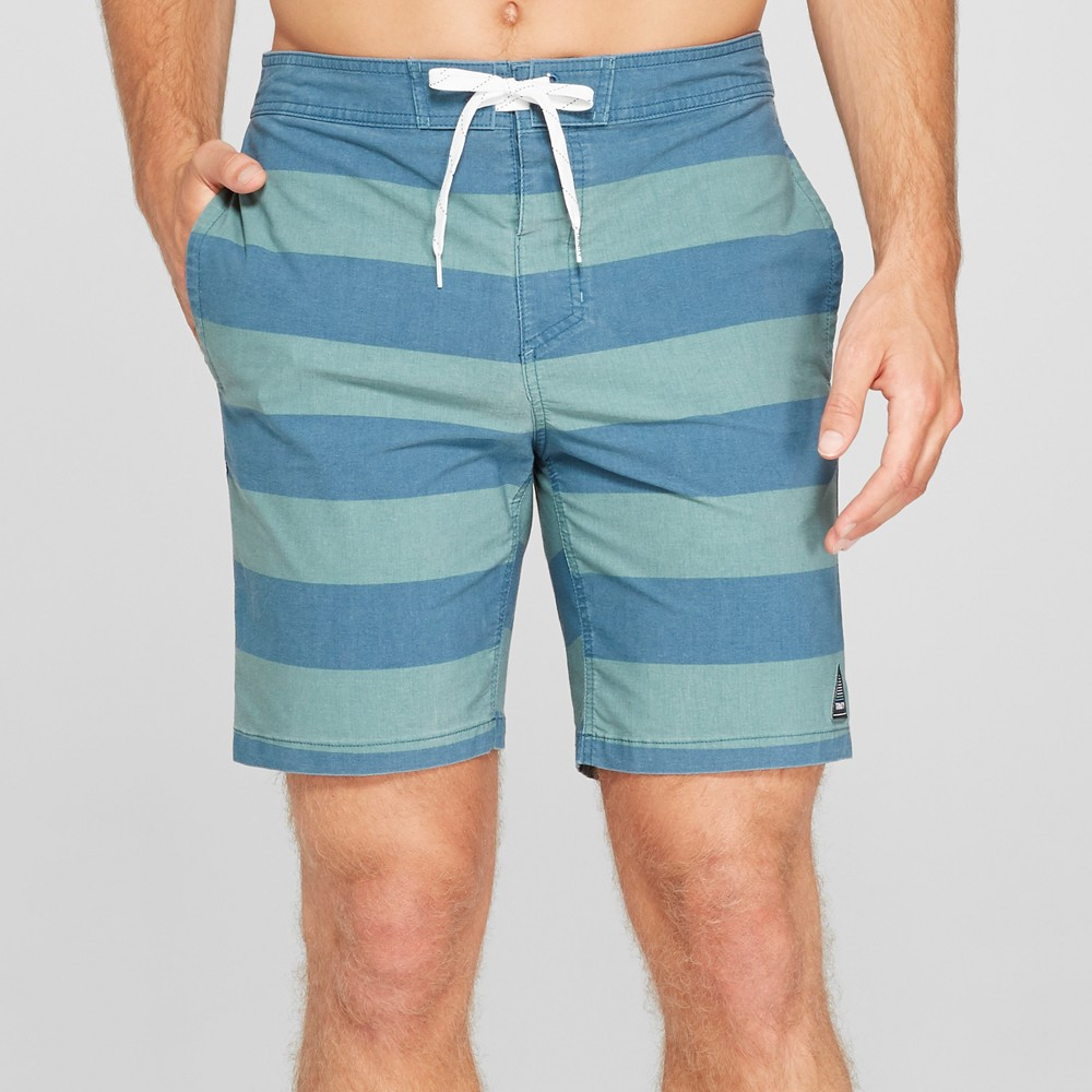 Trinity Collective Men's Striped 8.5 Rugby Board Shorts - Deep Teal 28, Blue