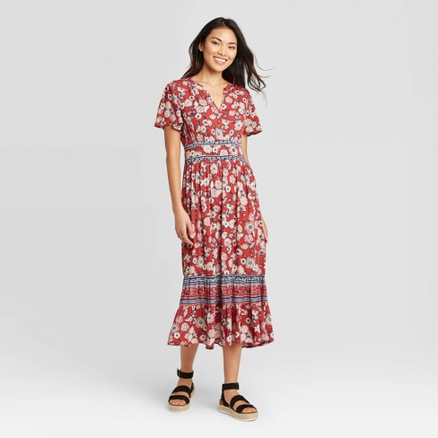 Women's Floral Print Short Sleeve Dress - Knox Rose™ Red - image 1 of 2
