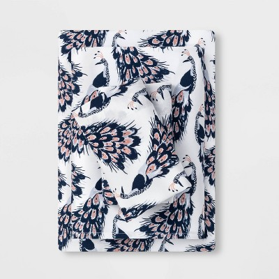 Queen Printed Easy Care Cotton Sheet Set Peacock - Opalhouse™