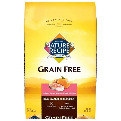 Nature's Recipe Grain Free Easy to Digest (Salmon Sweet Potato & Pumpkin)- Dry Dog Food - 12lbs