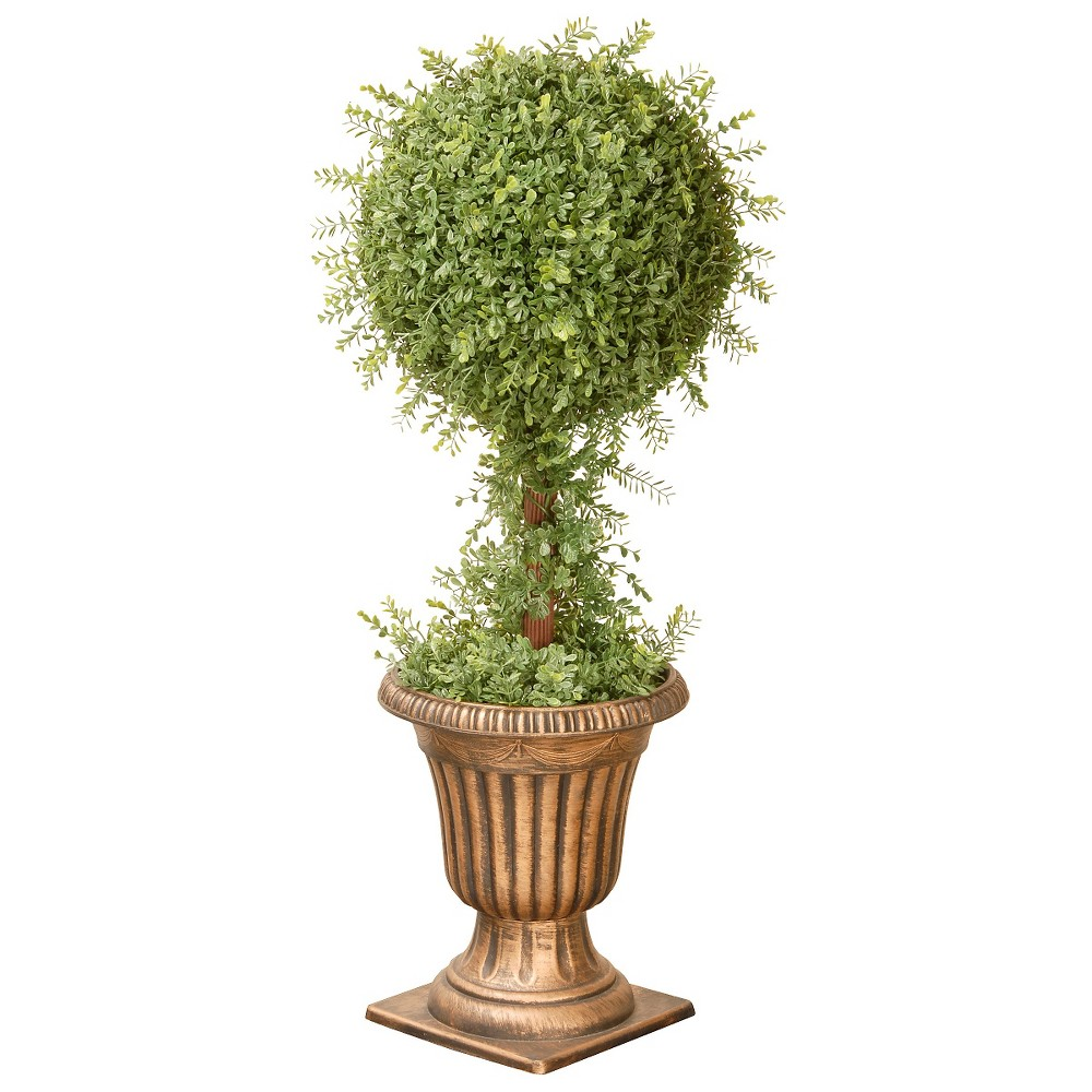 Mini Tea Leaf 1-Ball Topiary in Urn (36), Green