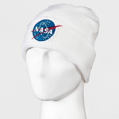 5fbcc2bd6079c Men s NASA Embroidered Cuff Waffle Knit Beanie – White One Size ...