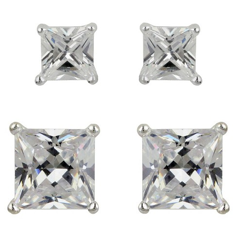 Sterling Silver Cubic Zirconia Duo Square Stud Earring Set - Clear - image 1 of 1